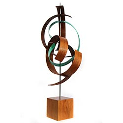 Jackson Wright Intertwine 8in x 21in Contemporary Style Modern Wood Sculpture