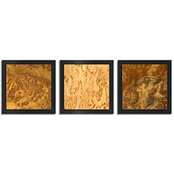 Jackson Wright Flame Burl Essence Black 38in x 12in Contemporary Style Wood Wall Art