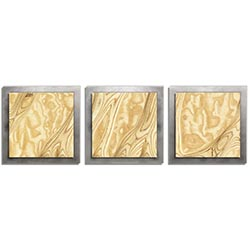 Jackson Wright Natural Burl Essence Silver 38in x 12in Contemporary Style Wood Wall Art