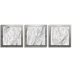 Jackson Wright Whitewash Burl Essence Silver 38in x 12in Contemporary Style Wood Wall Art