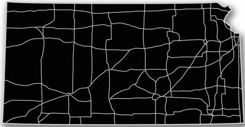 Kansas - Acrylic Cutout State Map - Black/Grey USA States Acrylic Art