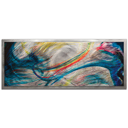 NAY Grace and Virtue Framed 48in x 19in Abstract Rainbow Painting Art on Colored Metal