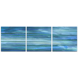 Ocean View Triptych 38x12in. Metal or Acrylic Abstract Decor