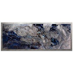 Emley Storm Color Framed 48in x 19in Abstract Abstract Blue Art Art on Colored Metal