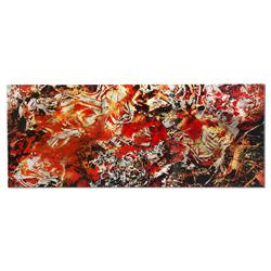 Cinders - Red/Orange Paint-Splatter Abstract Art