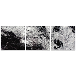 Storm Black Triptych Large 70x22in. Metal or Acrylic Abstract Decor
