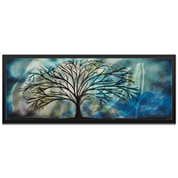 Amber LaRosa Moonlight Serenade Framed 48in x 19in Abstract Tree Art on Colored Metal