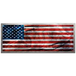 Amber LaRosa American Glory Framed 48in x 19in Patriotic American Flag Art on Colored Metal