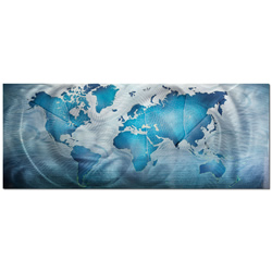 Land & Sea - Blue World Map Contemporary Art