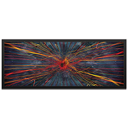 Amber LaRosa Implosion Framed 48in x 19in Abstract Urban Decor Art on Colored Metal