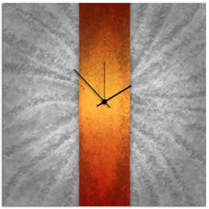 Orange Stripe Clock - Modern Metal Wall Clock