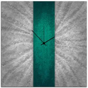 Teal Stripe Clock - Modern Wall Decor