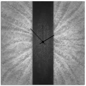 Black Stripe Clock - Modern Metal Wall Clock