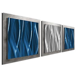 Blue Silver Essence: Layered Modern Metal Wall Art