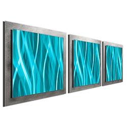 Turquoise Essence - Layered Modern Metal Wall Art