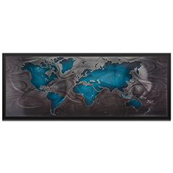 Amber LaRosa Blue Pewter Land and Sea Framed 48in x 19in Traditional World Map Art on Colored Metal