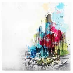Urban Cityscape - Abstract Artistic City Sketch Art