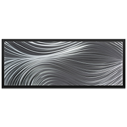 NAY Passing Currents Composition Framed 48in x 19in Abstract Urban Decor Art on Colored Metal