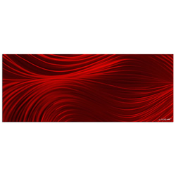 Passing Currents Red - Contemporary Metal Wall Art