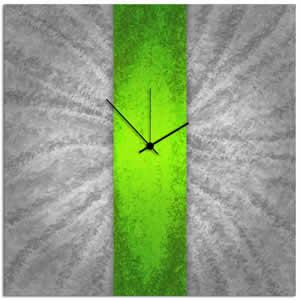 Green Stripe Clock - Contemporary Metal Wall Clock