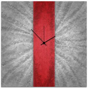 Red Stripe Clock - Contemporary Metal Wall Clock