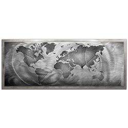 Amber LaRosa Monochrome Land and Sea Framed 48in x 19in Traditional World Map Art on Colored Metal