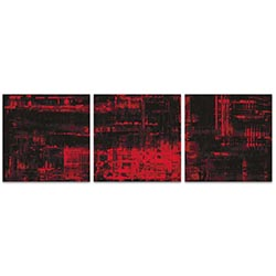 Aporia Red Triptych 38x12in. Metal or Acrylic Contemporary Decor