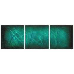 Ocean Mist Triptych Large 70x22in. Metal or Acrylic Abstract Decor