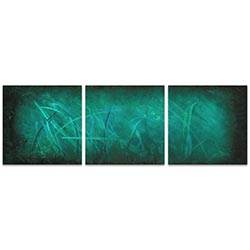 Ocean Mist Triptych 38x12in. Metal or Acrylic Abstract Decor