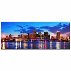 Miami City Skyline - Urban Modern Art, Designer Home Decor, Cityscape Wall Artwork, Trendy Contemporary Art