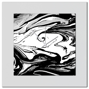 Black and White Swirl Clock by Eric Waddington Multimedia Abstract Wall Decor