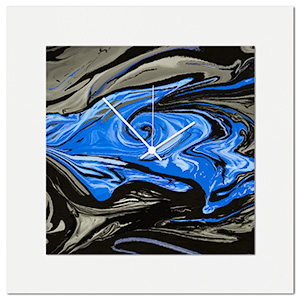 Blue Swirl Clock by Eric Waddington Multimedia Abstract Wall Decor
