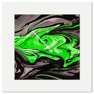Green Swirl Clock by Eric Waddington Multimedia Abstract Wall Decor
