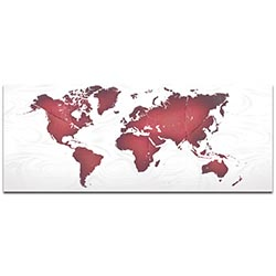Abstract World Map Red White Land and Sea - Urban Wall Art on Metal or Acrylic