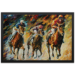 Leonid Afremov Instant of Success Framed 32in x 22in Contemporary Horse Racing Art on Colored Metal