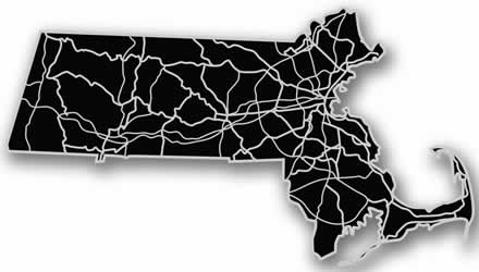 Massachusetts - Acrylic Cutout State Map - Black/Grey USA States Acrylic Art