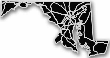 Maryland - Acrylic Cutout State Map - Black/Grey USA States Acrylic Art
