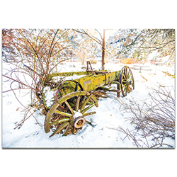Western Wall Art Wagon Ruins - Farm Landscape Decor on Metal or Plexiglass