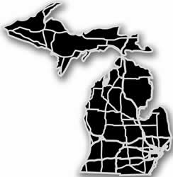 Michigan - Acrylic Cutout State Map - Black/Grey USA States Acrylic Art