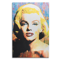 Marilyn Monroe by Mark Lewis - Pop Art Painting giclee on Metal