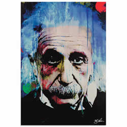 Mark Lewis Albert Einstein Questioning Tomorrow Limited Edition Pop Art Print on Metal or Acrylic
