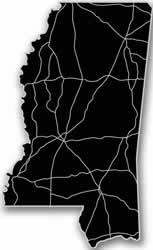 Mississippi - Acrylic Cutout State Map - Black/Grey USA States Acrylic Art