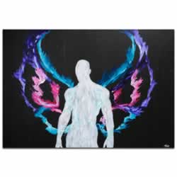 Urban Saint - Contemporary Fantasy Angel Art with Colorful Rainbow Wings, Modern Silhouetted Male Nude Painting Decor