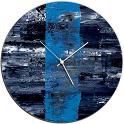 Mendo Vasilevski Blue Line Circle Clock 16in x 16in Modern Wall Clock on Aluminum Composite