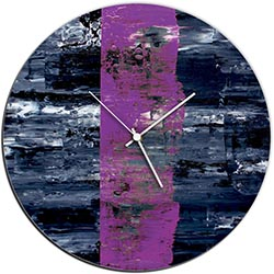 Mendo Vasilevski Purple Line Circle Clock 16in x 16in Modern Wall Clock on Aluminum Composite