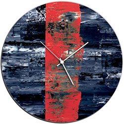Mendo Vasilevski Red Line Circle Clock 16in x 16in Modern Wall Clock on Aluminum Composite
