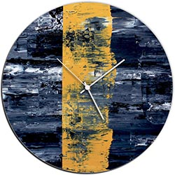 Mendo Vasilevski Yellow Line Circle Clock 16in x 16in Modern Wall Clock on Aluminum Composite