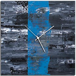 Mendo Vasilevski Blue Line Square Clock 16in x 16in Modern Wall Clock on Aluminum Composite