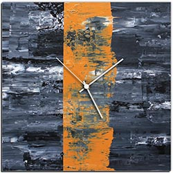 Mendo Vasilevski Orange Line Square Clock 16in x 16in Modern Wall Clock on Aluminum Composite