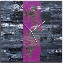 Mendo Vasilevski Purple Line Square Clock Large 22in x 22in Modern Wall Clock on Aluminum Composite